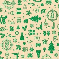 画像1: クリスマス用包装紙 アコール緑  半才判 品番:49-3044  シンプルなシルエット柄の包装紙です。